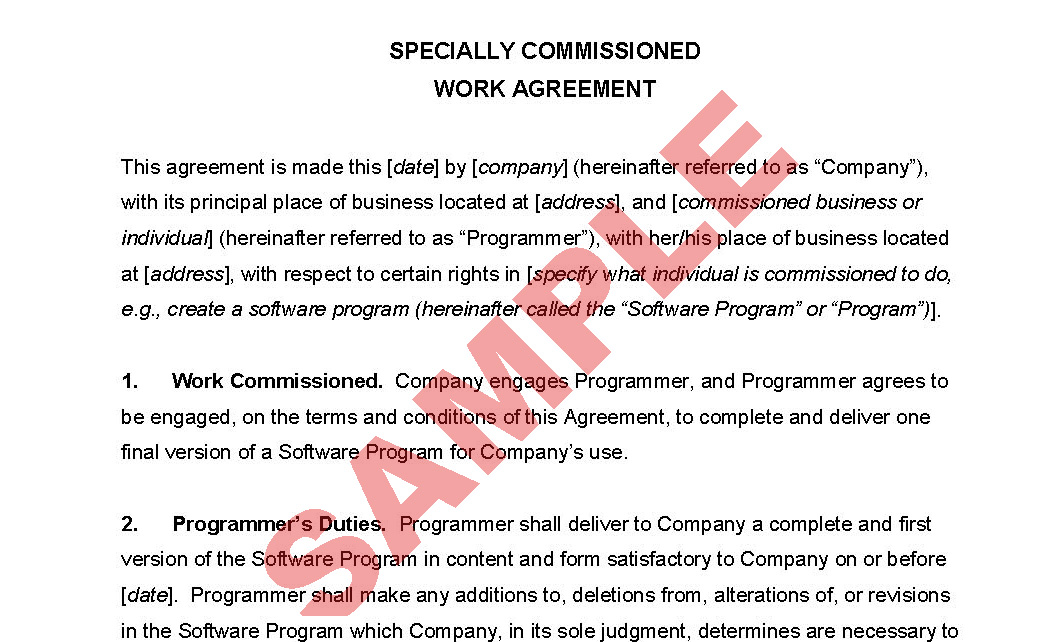 Agreement for Specially Commissioned Work - Business Forms