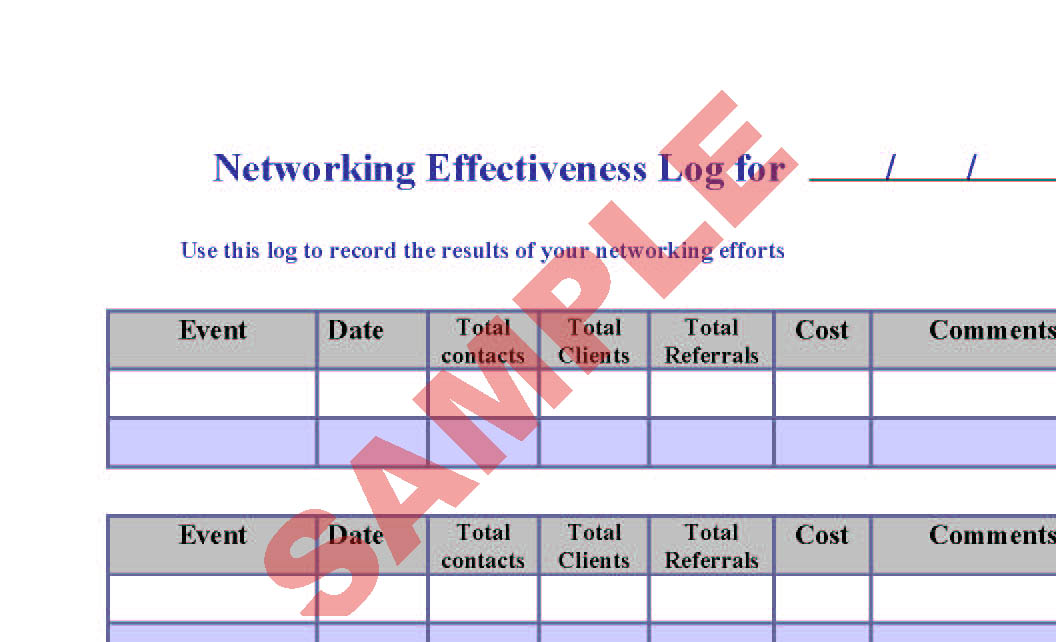 networking effectiveness log preview