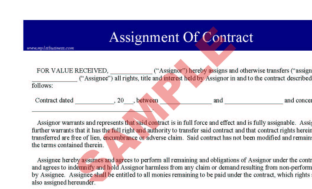 Assignment of Contract - Business Forms - Legal & Agreement Forms ...