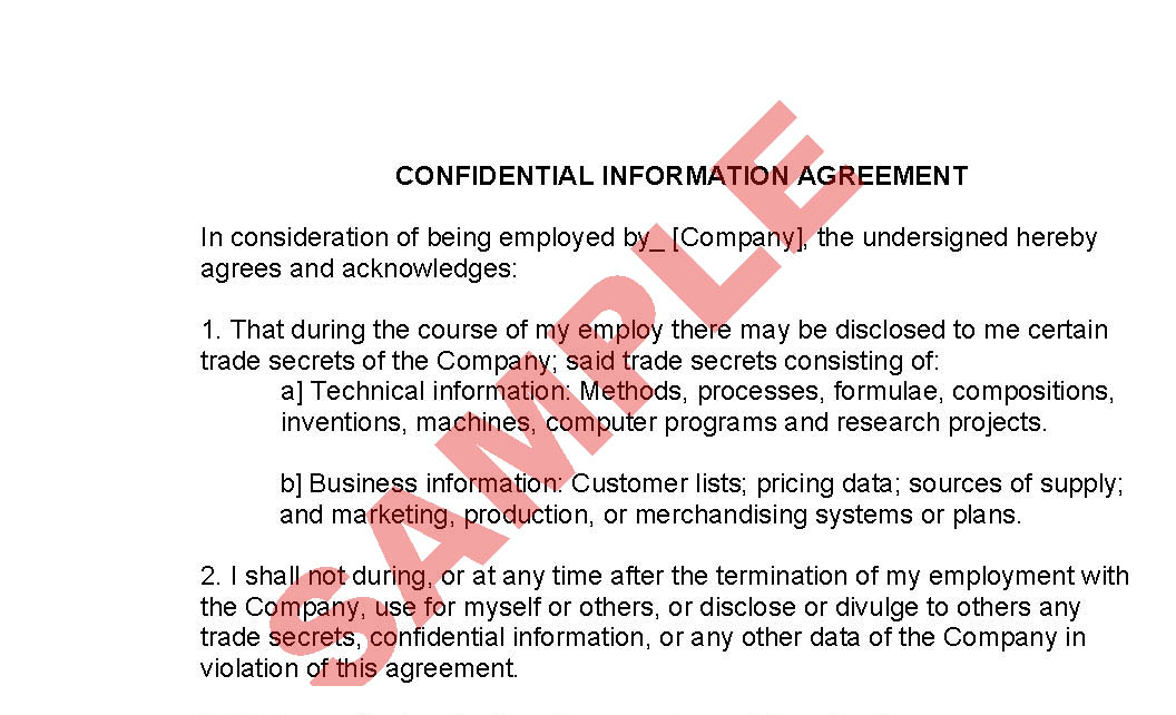 Employee Confidentiality Agreement Business Forms Hr