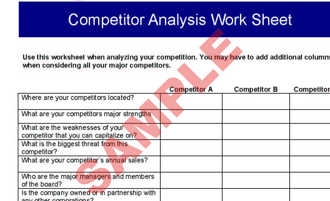 Competitor Analysis Worksheet Preview  Example Of Competitor Analysis