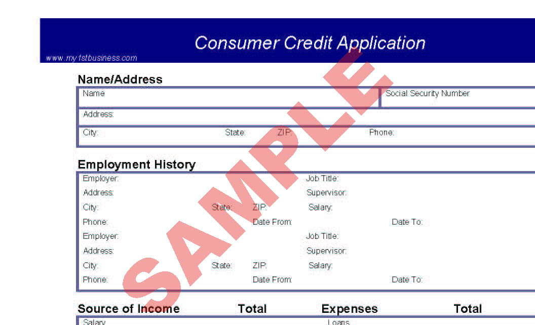 consumer credit application business forms accounts finance