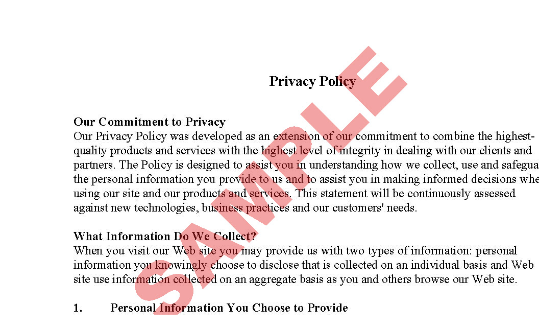 Website Privacy Policy Sample Business Forms Ecommerce SA - Ecommerce website privacy policy template