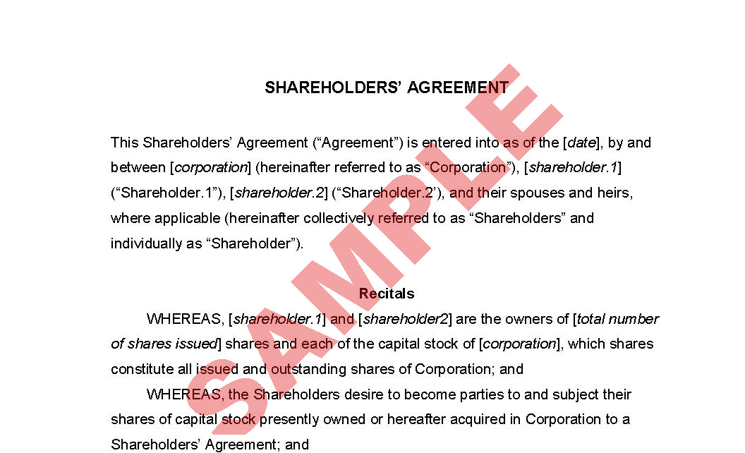 Shareholder' Agreement - Business Forms - Company Formation Forms