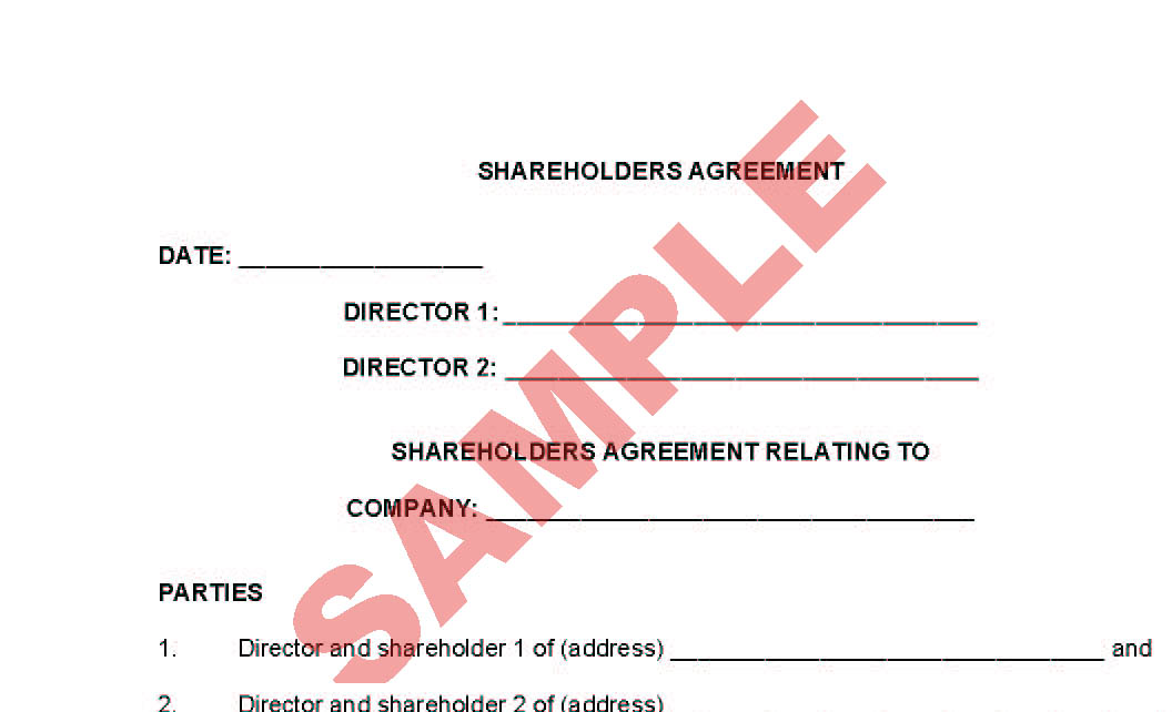 Shareholders Agreement Business Forms Legal Agreement Forms